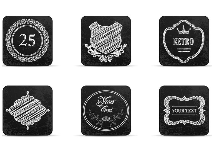 Chalk Drawn Retro Label Icons PSDs