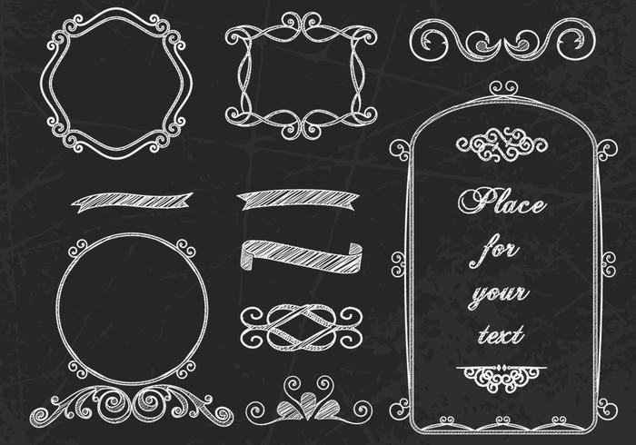 Curly Chalk Frames & Borders PSDs