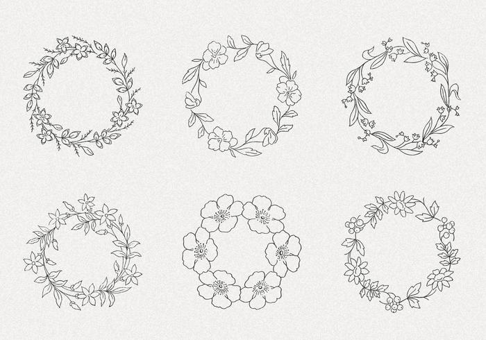 Hand Drawn Wreath PSD Pack II