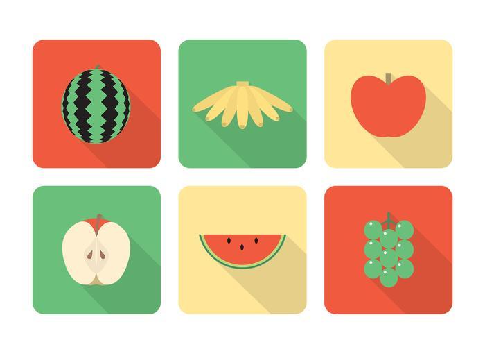 Long Shadow Fruit Icon Conjunto PSD