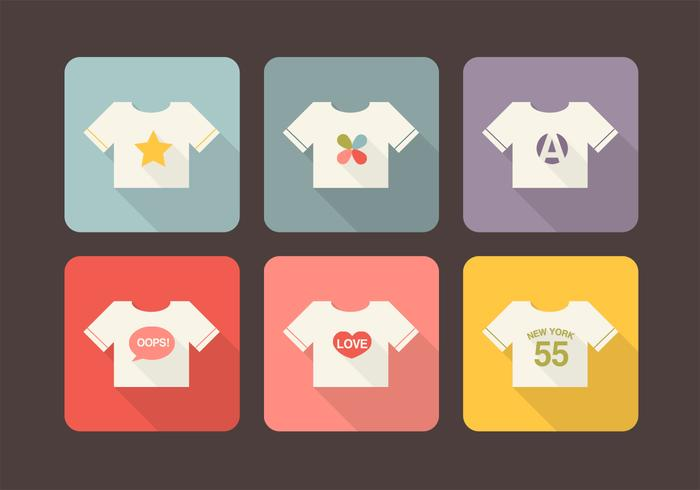 T-Shirt Design Langes Schatten Icons PSD Pack