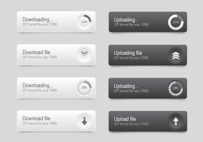 White & Black Progress Button PSD Set