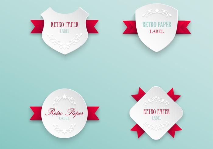 Retro Labels with Ribbons PSD Pack