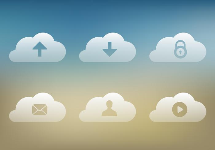 Transparante Cloud Icons PSD Pack