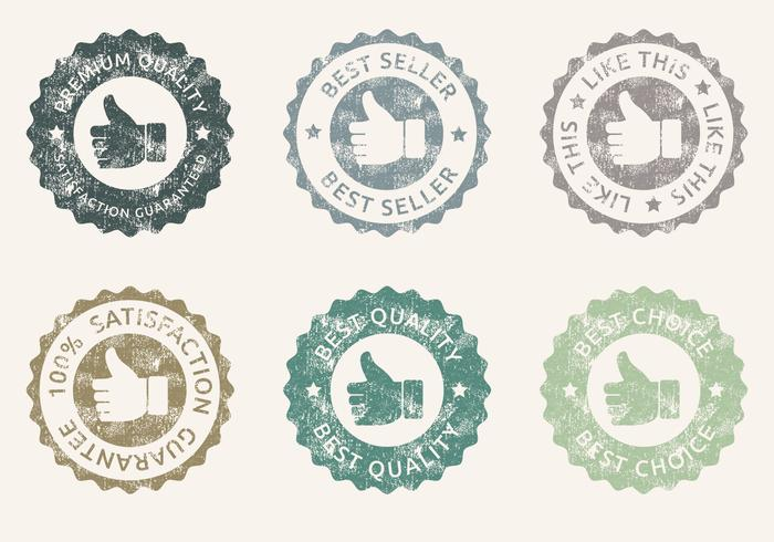 Grunge thumbs up badges psd set