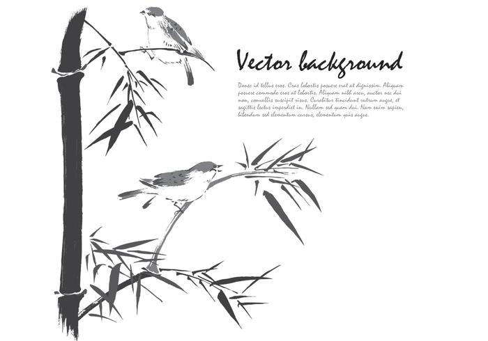 Ink Drawn Bamboo Birds Background PSD