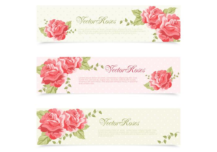 Red Pink Painted Retro Roses Banner PSD Set