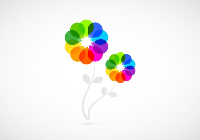 Bright Colored Abstract Flowers PSD