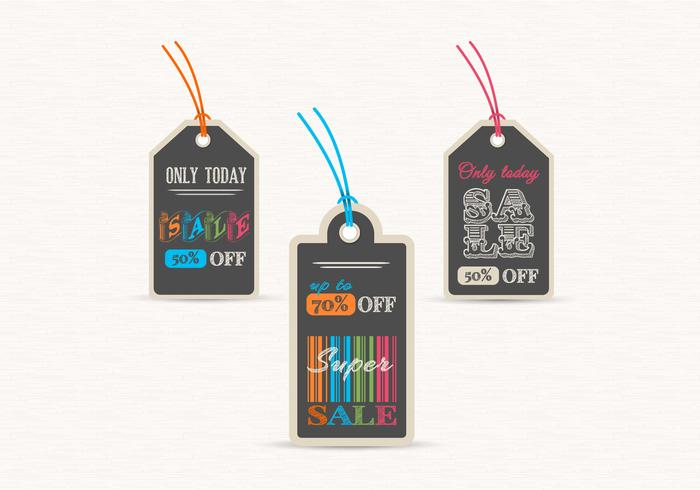 Chalk Board Verkauf Label Tags PSD Set