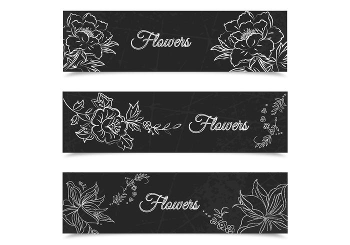 Chalk Drawn Floral Banners PSD Set