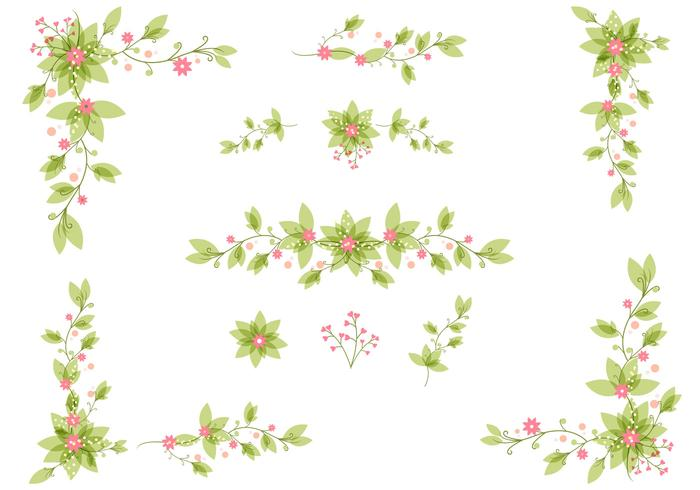 Elegant Floral Leaves PSD Set