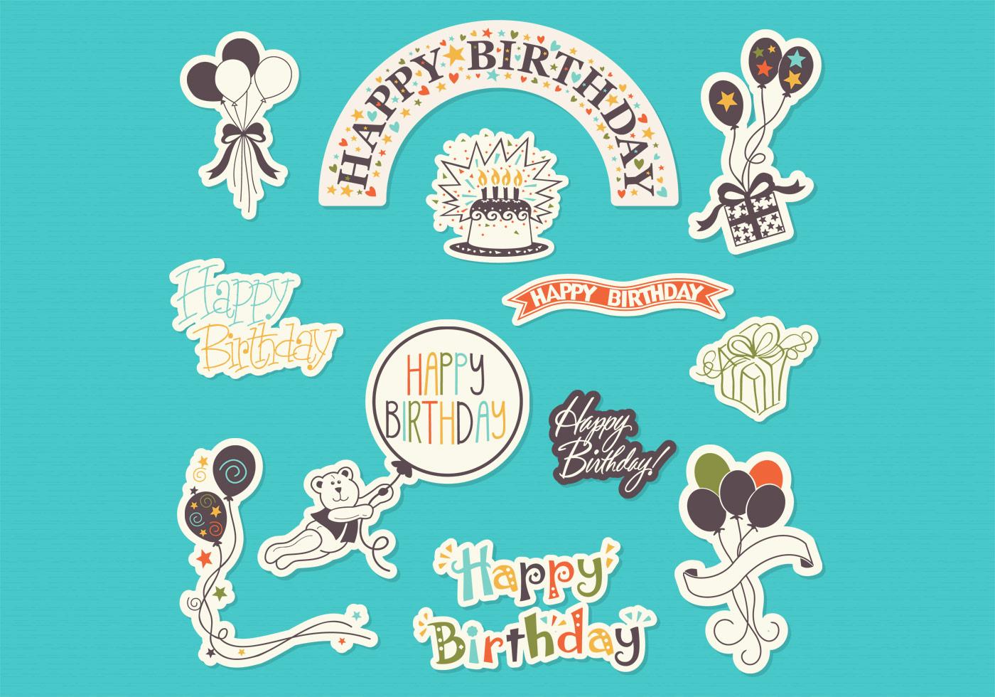 Happy Birthday Sticker Set Psd Free Photoshop Brushes At