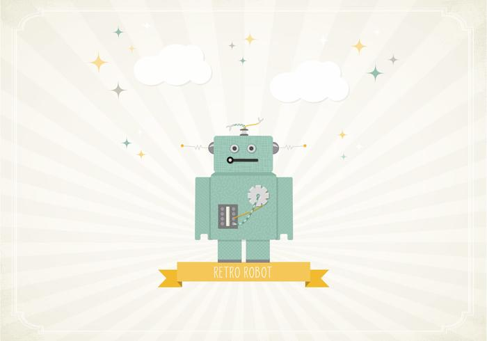Papel de parede Retro Robot Wallpaper PSD
