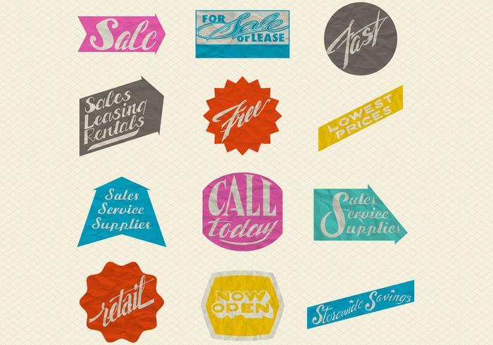 Etiquetas de venda de papel enrugado retro Conjunto PSD
