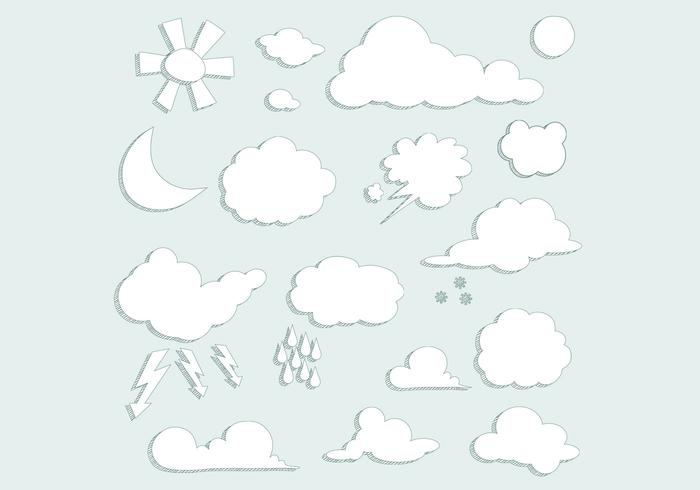 Sketched Clouds Weer PSD Set