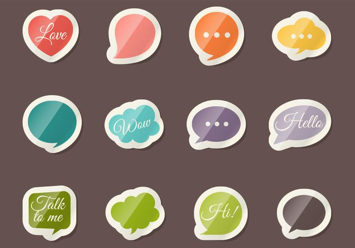 Speech Bubble Sticker PSD Set