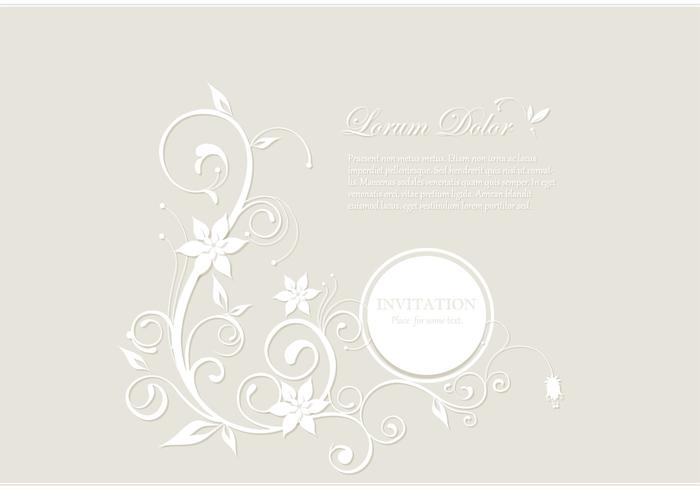 White Floral Card PSD