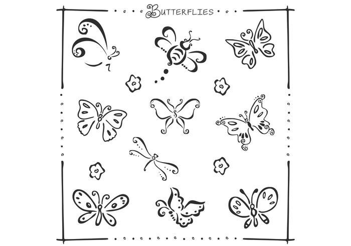 De Borstels Van De Vlinders Van De Doodle