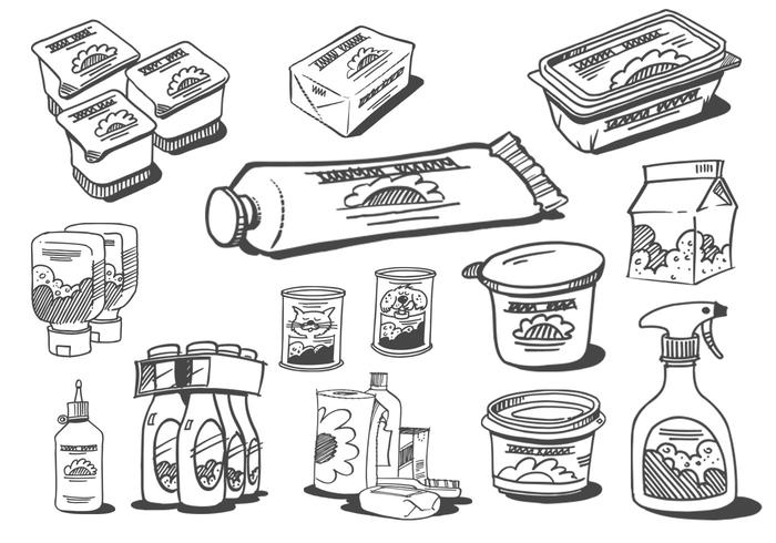 Sketched Food Products Brushes