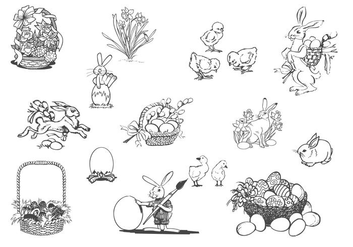 Drawn Spring und Ostern PSD Set