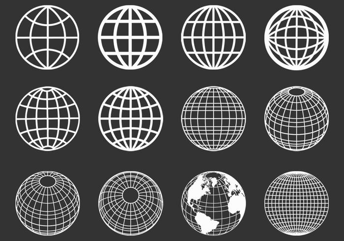 Outlined Globes Spheres PSD Set