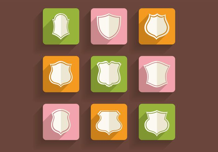 Retro Shields Pictogrammen PSD Pack