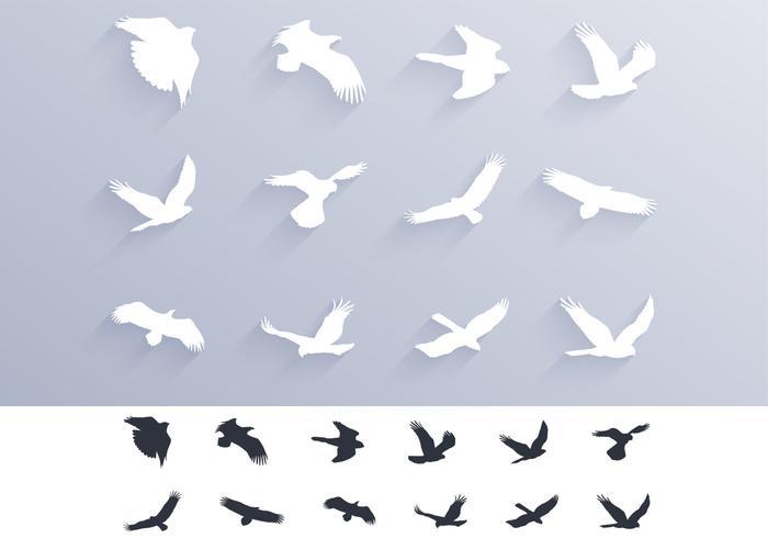 Vogels Bidden Silhouetten Borstels