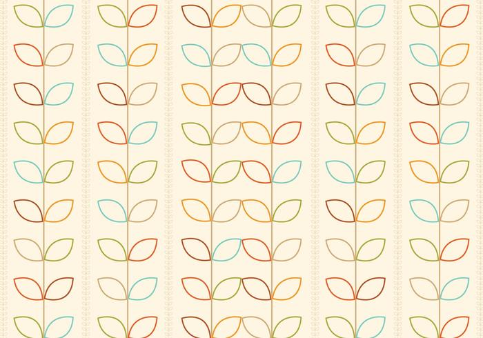 Outlined Retro Flowers Pattern