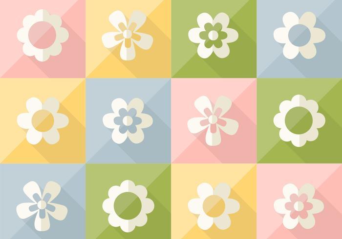 Fleurs sur un motif coloré en pastel