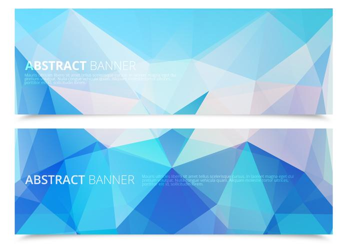 Abstract Icy Polygonal Banners PSD Set