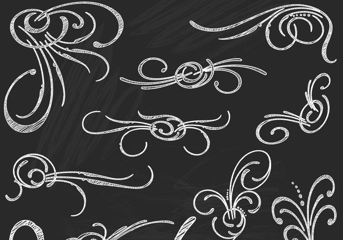 Chalk Drawn Flourish Elements PSD Pack