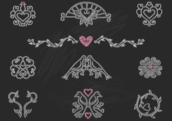Kreide gezogene Herzvögel Ornamente PSD Pack