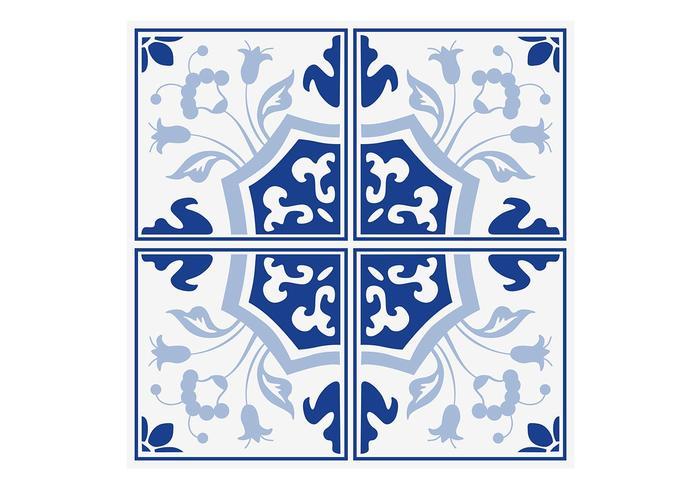 Azulejos florais azuis de delft psd