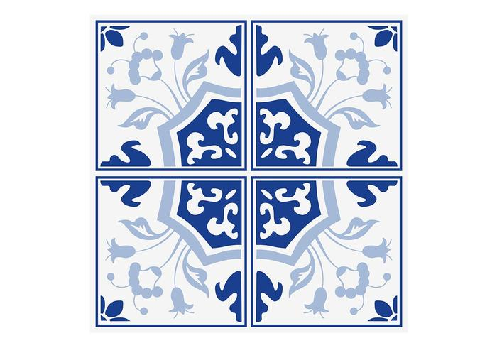 Azulejos florales azules de Delft PSD