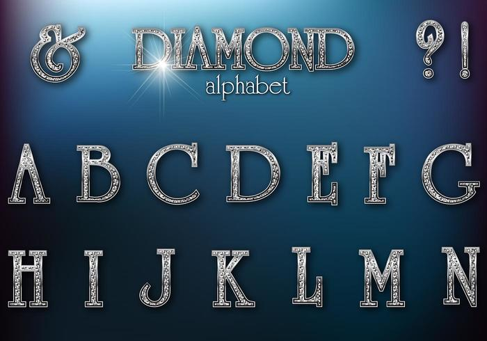 Diamond Studded Retro Alphabet PSD