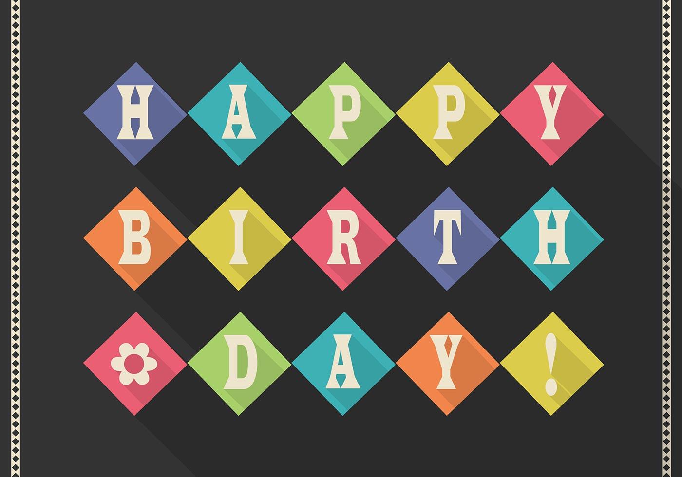 flat retro happy birthday card psd