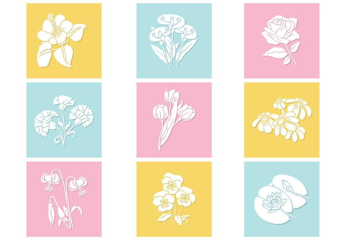 Pastel Flowers PSD Set
