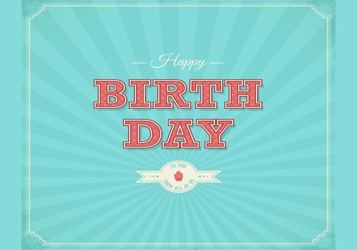Retro Happy Birthday Typographical Background PSD