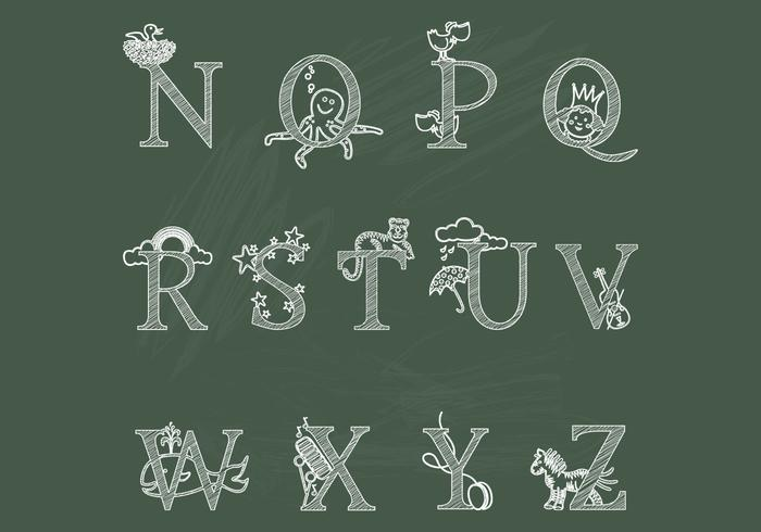 Chalk Children's Alphabet N-Z Brushes