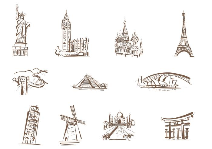 Drawn Famous Landmarks Brushes