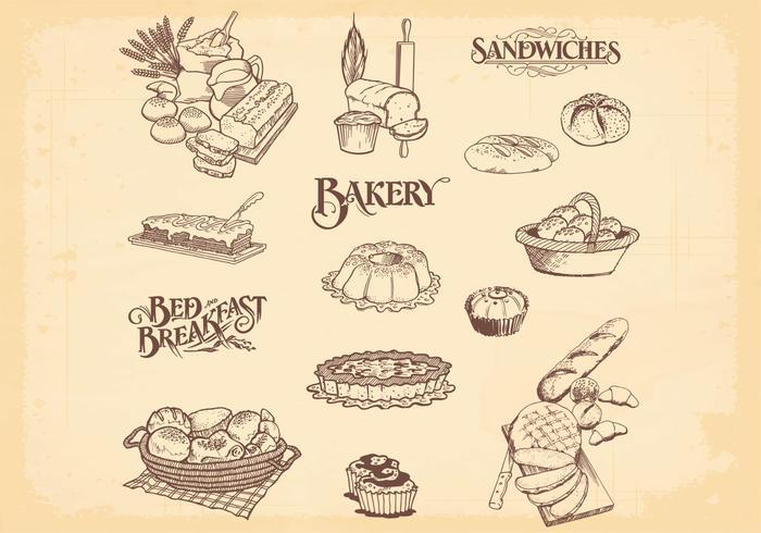 Escovas de pão de padaria desenhadas à mão