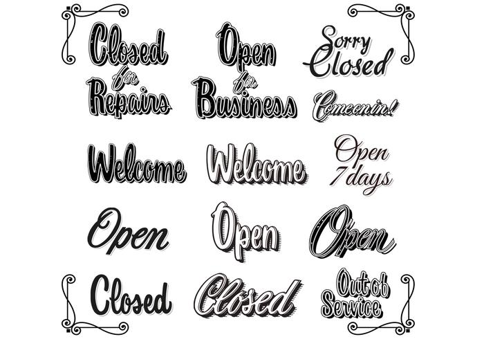Retro Vintage Open Closed Sign Brushes