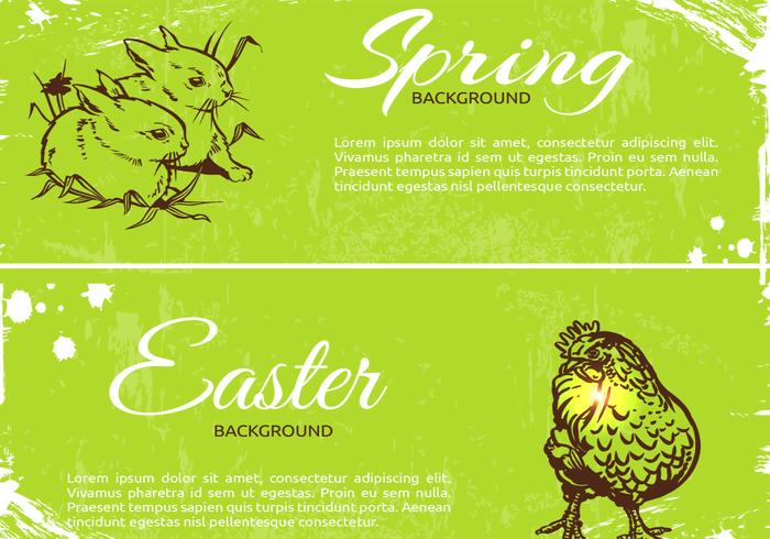 Grungy Spring Easter Banner PSD Pack
