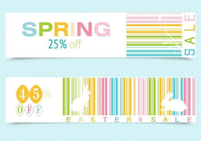Primavera Easter Barcode Banner PSD Pack