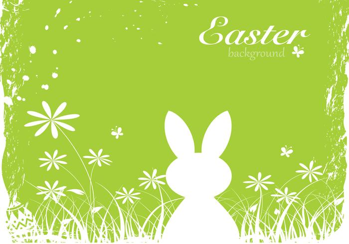 Green Easter Bunny Background PSD