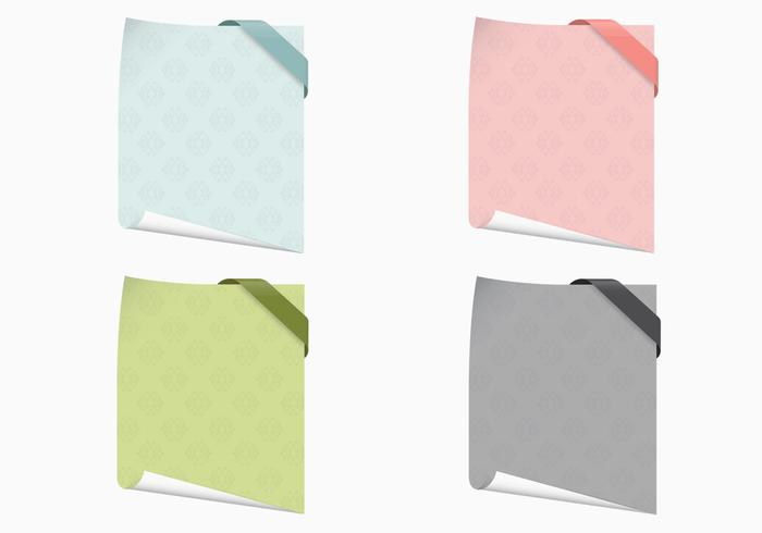 Curled Patterned Note Papers PSD Set