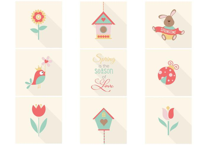 Cute Spring Iconos PSD Pack
