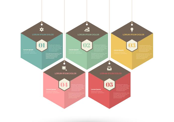 Retro Hexagon-Tags PSD-Set