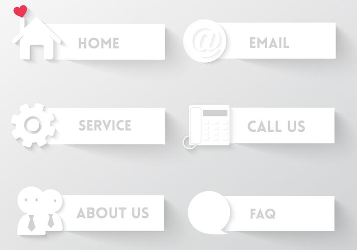 White Web Buttons PSD Set