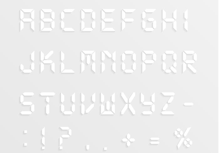 Digital Alphabet and Numbers PSD